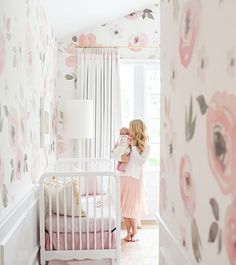 Pinned from @anewalldecor on IG. #babygirlnursery #wallpaper #pink