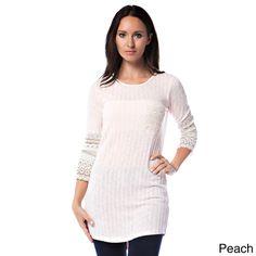 Tea n Rose Ribbed Crochet Contrast Cuff Tunic