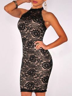 Black Halter Strappy Back Lace Bodycon Dress
