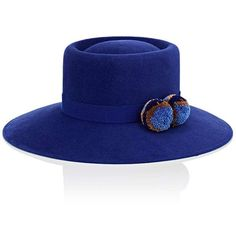 Yosuzi Women's Tulvia Rabbit Fur Felt Fedora (7.725 CZK) ❤ liked on Polyvore featuring accessories, hats, blue, crown hat, felt hat, blue crown, felt fedora and brimmed hat