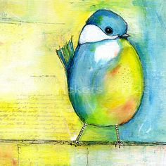Art original painting blue bird
