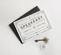 Letterpress | PRPL Speakeasy Invitation by Purple, Rock, Scissors