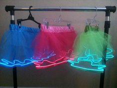 Custom color EL-wire glowing tutu This would be good for the Neon Vibe. Run Disney Costumes, Running Costumes, Dance Costumes, Disney Princess Half Marathon, Disney Marathon, Karneval Outfits, Theme Carnaval, Glow Run, Neon Birthday