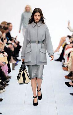 Chloe Double face wool coat Crepe de chine blouse Leather skirt