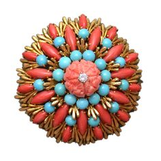 David Webb Coral and Turquoise Brooch, USA, 1960s