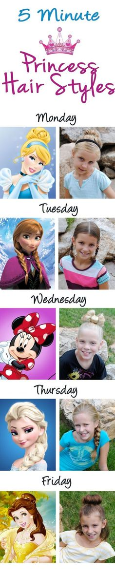 5 Princess Hairdos in 5 Minutes or Less DIY Tutorial ♡ ...Love This For Little Girls Hair Styles ❣      http://www.getawaytoday.com/blogs/2014-09-04/5-Princess-Hairdos-in-5-Minutes-or-Less