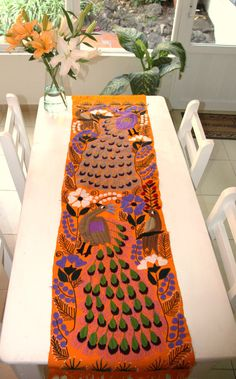 Gorgeous yellow peacock embroidered Chiapas Runner by CasaOtomi, www.casaotomi.com Tenango, Otomi, Casa otomi, Casaotomi, Mexican Suzani, Mexican, wedding, Textile, Fabric, Hand Embroidered, embroidery, table runner, cushion, pillow, authentic, wall hanging,