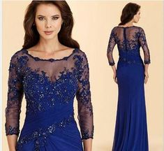 92ba08c4ce5 Vintage Royal Blue Evening Dress High Quality Applique Chiffon Prom Party  Dress Formal Event Gown Mother Of The Bride Dress from loverlovebridal
