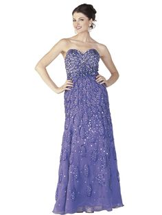 Stunning strapless full length gown made of 30D Chiffon, embellished with beading throughout the entire gown, with sweetheart neckline and side zip closure