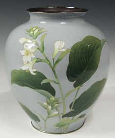 Japanese Cloisonne Vase with Lilies