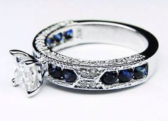Safire and diamonds add a royal flare to this classic ring!