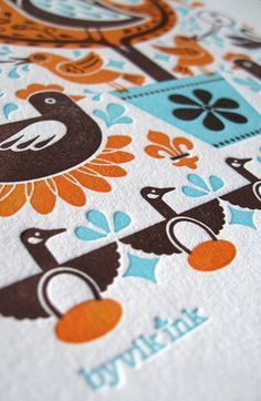 Partridge in a Pear Tree Print - orange/aqua/brown #LoveLetterpress