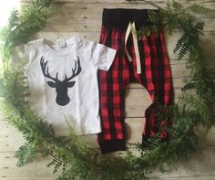 Toddler Boy Fall Outfit / Buck Deer Head Outfit / Red Buffalo Plaid Deer Plaid…
