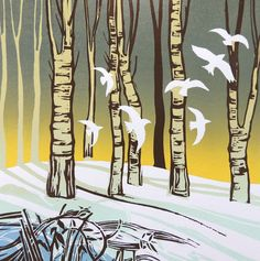 'Snow Flight' by Rob Barnes. Blank Art Cards By Green Pebble.