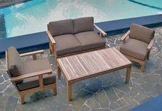 The Natori Collection 4 Piece Grade A Plantation Teak Patio Furniture Deep Seating Set