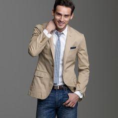 The Essential Khaki Blazer.  Mens Fashion  Mens Style  Mens Clothing  Handsome Men  Stylish men  Men's Fashion  Male Clothing