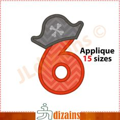 Pirate number six applique design. Machine embroidery design - INSTANT DOWNLOAD - 15 sizes. Number 6 applique. Number 6 embroidery by JLdizains on Etsy or www.alldayembroidery.com