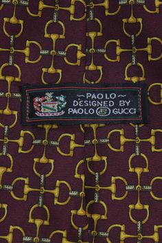 1980s Paolo Gucci Men's Burgundy Silk Horse Bit Tie | From a collection of rare vintage ties at http://www.1stdibs.com/fashion/accessories/ties/