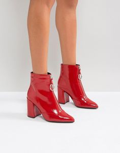 fe7a0c7ee3b04e Miss Selfridge Patent Zip Front Ankle Boot Bottines Rouges, Bottines  Vernies, Bottes, Chaussure