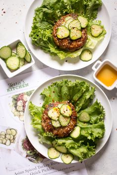 Asian Turkey Burgers Recipe with Quick Pickles | An easy super flavorful turkey burger made with scallions, soy sauce, garlic, and peanut butter or almond. Top them with cucumbers tossed salt and vinegar to make pickles in minutes! Recipe and review of Terra's Kitchen meal delivery service