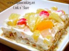 Graham Crema de Fruta Recipe Ingredients: 1 large can g) fruit cocktail. Drain and reserve the juice 2 packs g) graham crackers 2 packs whipping Pinoy Dessert, Filipino Desserts, Filipino Recipes, Filipino Food, Filipino Dishes, Baking Recipes, Cake Recipes, Dessert Recipes, Fruit Dessert