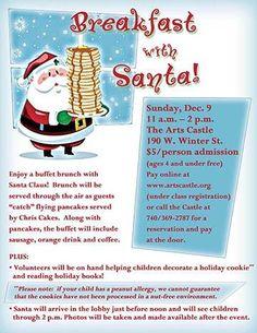 Breakfast with Santa at Delaware Arts Castle Delaware, OH #Kids #Events