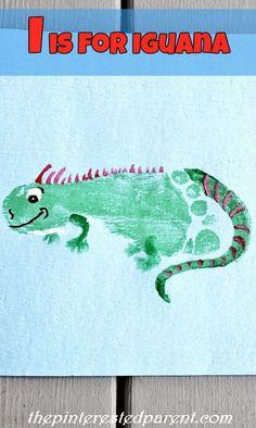 I is for Iguana footprint craft