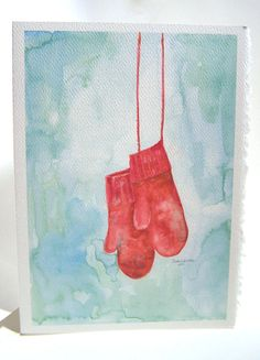 "Set of 10 Christmas cards with a painting of warm red mittens. These 5""x7"" greeting cards of my original watercolor painting will warm anyone's heart. These 10 cards are printed on textured watercolor"