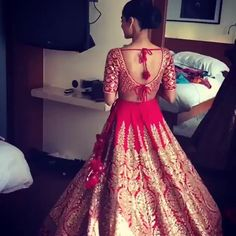Red Lengha                                                                                                                                                      More Indian Bridal Lehenga, Indian Bridal Wear, Indian Wedding Outfits, Bridal Outfits, Wedding Attire, Indian Outfits, Bridal Dresses, Indian Wear, Desi Clothes