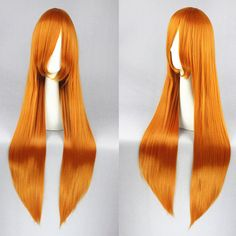 Haruhi Suzumiya Asahina Mikuru Wig Long straight 80CM Orange-Red Anime Cosplay Hair Wigs+Free Wig Cap
