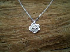 Silver rose necklace by GerasimoS on Etsy, €15.00