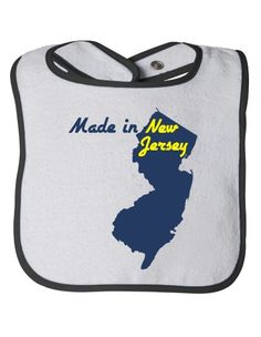 MADE-IN-NEW-JERSEY-Baby-Feeding-Bib-Cute-Funny-Infant-Newborn-NJ-Humor-0 New Jersey Humor, Shopping Humor, Baby Feeding, Infant, Memories, News, Funny, Cute, How To Make