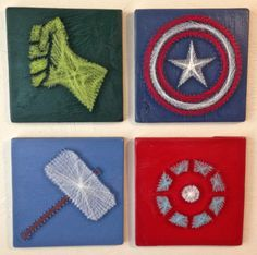 Avengers String Art Wall Hangings Set of 4 by halftonehandicrafts