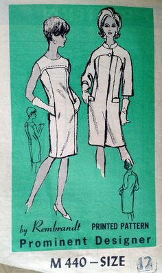 Rembrandt Vintage Dress and Coat Pattern M440 1966 Size - 12 Factory Folded, Mail Order Sleeveless Sheath Dress $25.00