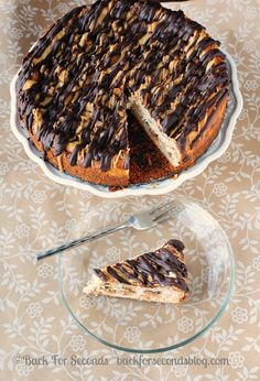 Peanut Butter Cup Cheesecake @Back For Seconds #reeses #peanutbuttercups #cheesecake #peanutbutter #ganache #chocolate #dessert #recipe