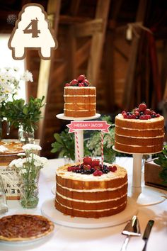 Naked wedding cake for me, pecan pie for him. Yep. Me and P for sure.