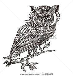 Vector hand drawn Owl sitting on branch. Black and white zentangle art.Vector illustration of owl. tattoo, poster, print, t-shirt.