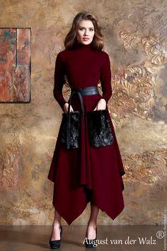 Купить Платье с ассиметричной юбкой и меховые карманы. - купить платье, купить платье платье