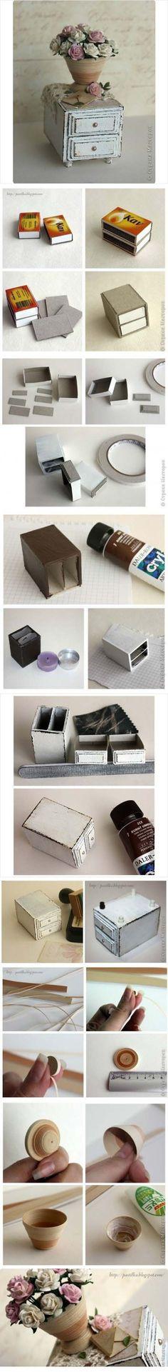 Miniaturowa komódka z pudełek po zapałkach