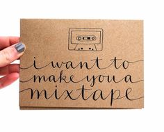 """Let your special someone know how you really feel w/ this brown kraft paper card: """"i want to make you a mix tape"""""""