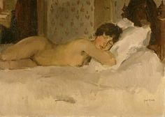 Recumbent nude - Isaac Israels (1865 - 1934). In the K.M.