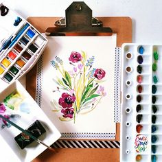 Time to relax #calligrafikas #watercolor Paper: Calligrapads watercolor sampler Paint: Holbein & Winsor & Newton Cotman Brush: Pebeo round no 5