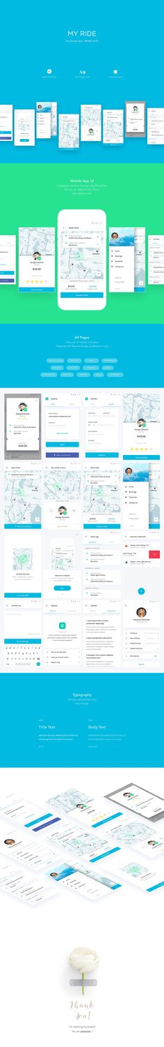 MY RIDE - Taxi App UI Kit by Nimart on @creativemarket