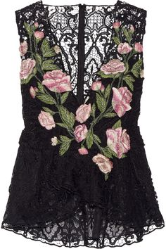 MARCHESA Floral-appliquéd guipure lace peplum top  $1,995.00 https://www.net-a-porter.com/product/646522