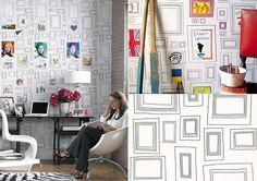 """O papel de parede """"Frames"""" para colorir, criado pelos artistas Taylor e Wood para a loja Graham & Brown."""
