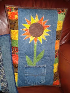 Back Pocket Design Sunflower pillow made with upcycled recycled jeans denim