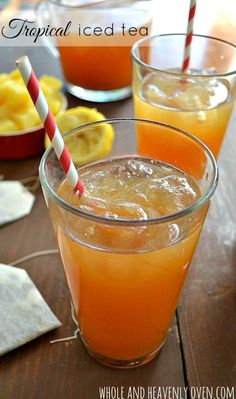 Perfectly sweet n tangy and loaded with tropical fruit flavor this easy iced tea is the ultimate summer thirst quencher! wholeandheavenlyo Click the image for more info. Fruit Tea Recipes, Sweet Tea Recipes, Iced Tea Recipes, Fruit Drinks, Non Alcoholic Drinks, Fruit Smoothies, Healthy Drinks, Beverages, Tea Drinks