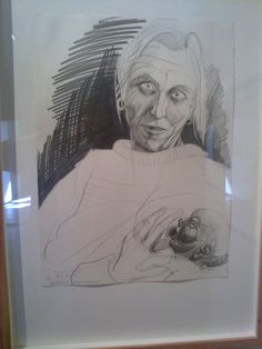 Teemu Mäki: Lea Kantonen Breast feeding. This is maybe the most frightening mother-child-portrait I have seen. It shows fabulously the artist philosophy about motives of parenthood.