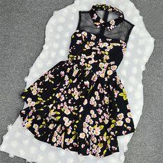 Floral Print Turndown Mesh Two-layer Pleated Tank Dress