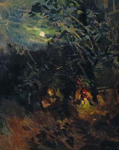Noche de luna llena (Охотино -Лунная ночь, 1918) Konstantín Alekséyevich Korovin (Константин Алексеевич Коровин. Unión Soviética. Rusia, 1861-1939)